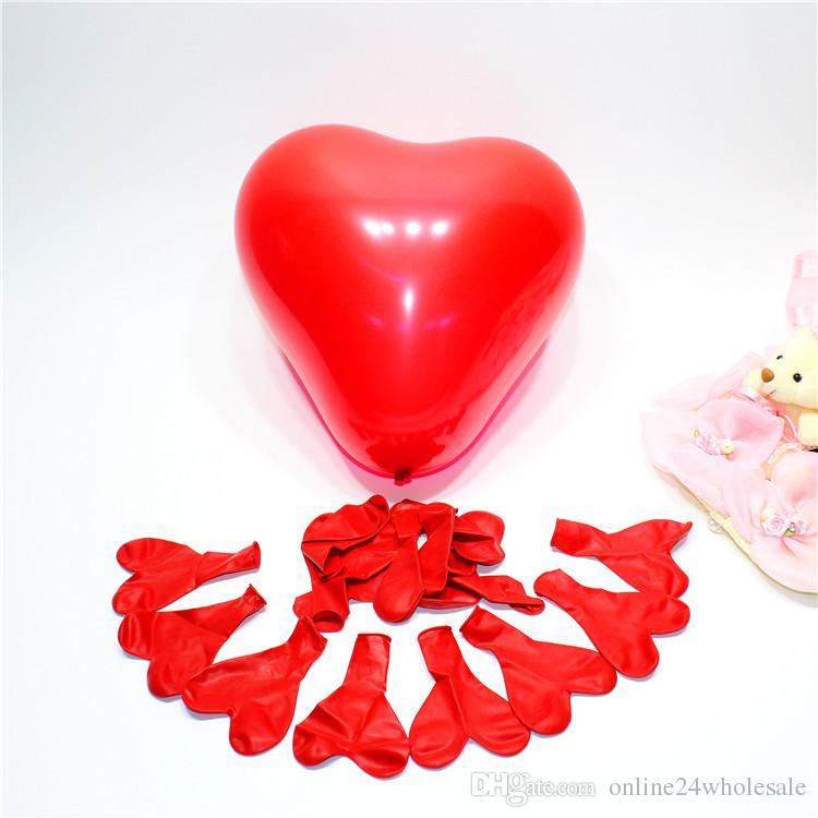 """حار بيع 12 """"القلب shapr الإبداعية الملونة inflable سماكة لؤلؤة حفل زفاف عطلة عيد بالون مات بالون الديكور"""