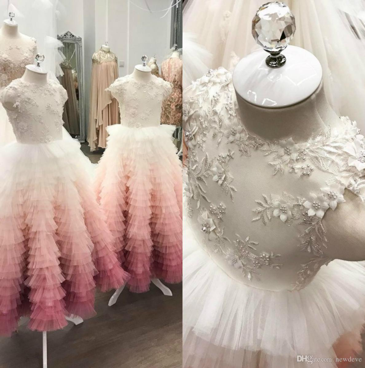 Perline 3D Appliques floreali Flower Girl Dress Pizzo Abiti eleganti Abiti da sposa vintage per la piccola sposa
