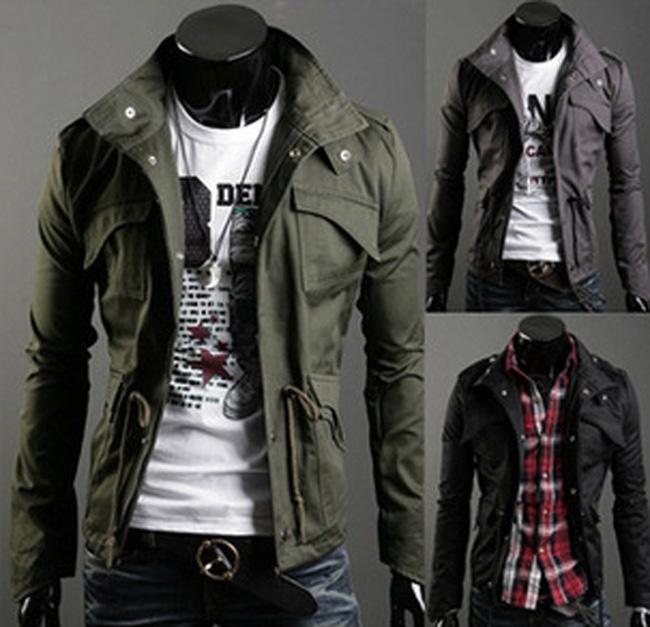 NEW Mens куртки Плюс Размер Стенд воротник с длинными рукавами Популярная пальто сплошной цвет однобортный Мужские куртки Мода хлопок Тонкий Верхняя одежда