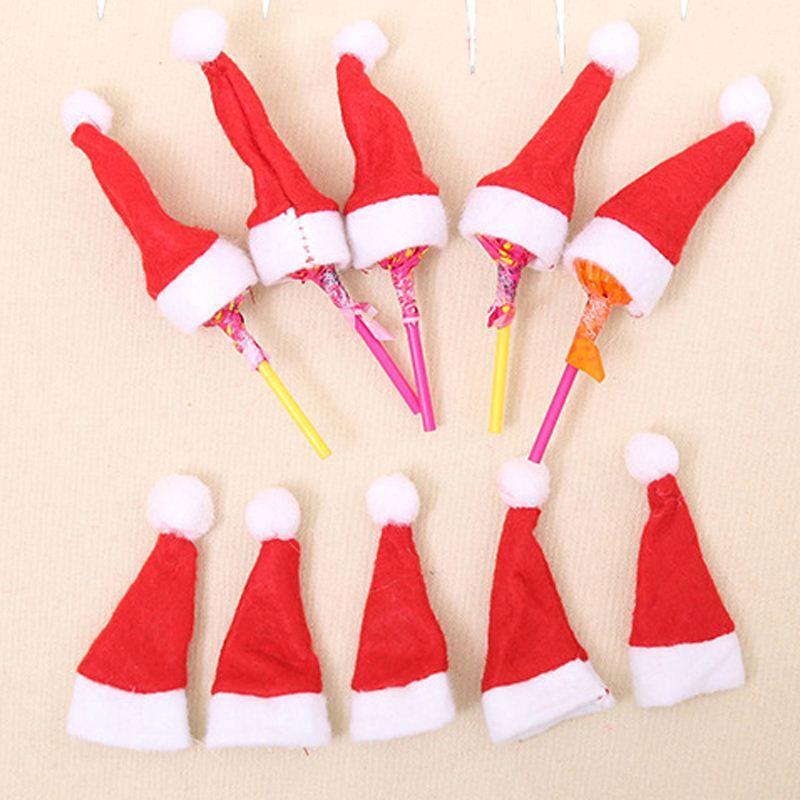 30 PC를위한 미니 산타 클로스 모자 크리스마스 장식 크리스마스 휴일 롤리팝 상단 상단 커버 축제 장식