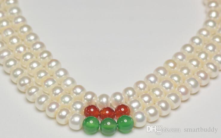 véritable bijoux 8mm jadewhite perles 3unite collier 171819inxches