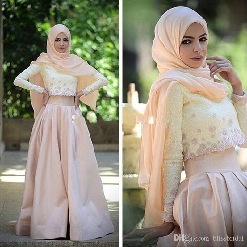 2 Piece Muslim Evening Dress Long Sleeve Lace Top Champagne Satin Skirt Hijab Arabic Prom Gowns A Line Floor Length Formal Party Dress