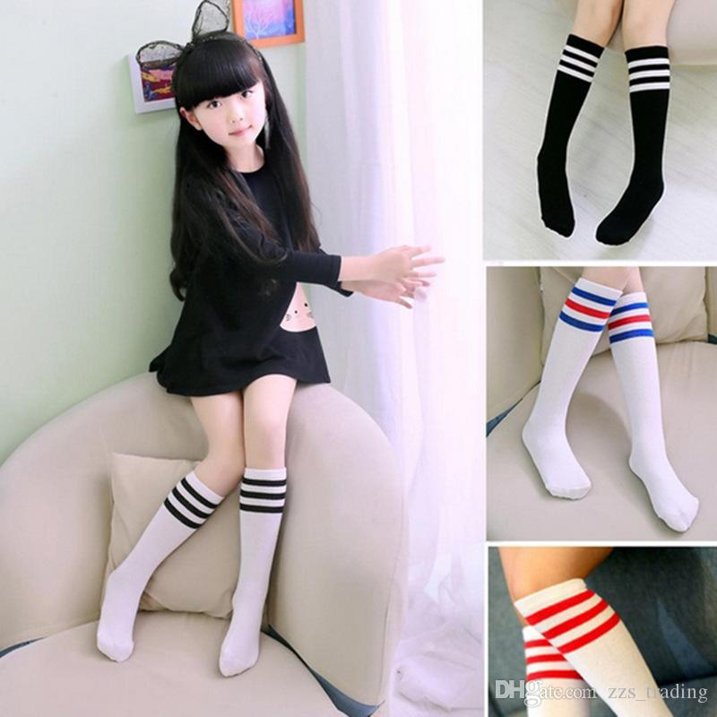 detailed pictures utterly stylish low price Spring Summer Cotton Girl Three Bars Striped Dance Socks Children Small  Fresh College Wind Children Long Tube Knee Performance Socks Canada 2019  From ...