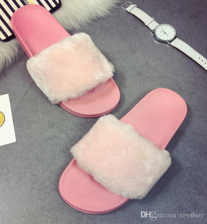 Marca Donna Estate Moda Faux Fur Donna Casa Scivola Peluche Pantofola sandali infradito Fluffy Flip Flop furry mule Lady Scarpa