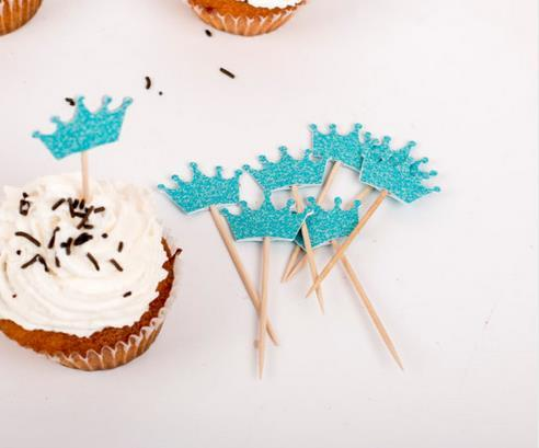 Custom Turquoise glitter crown Cupcake Toppers - boy birthday baby shower wedding cake topper party toothpicks food pick Party Decoration