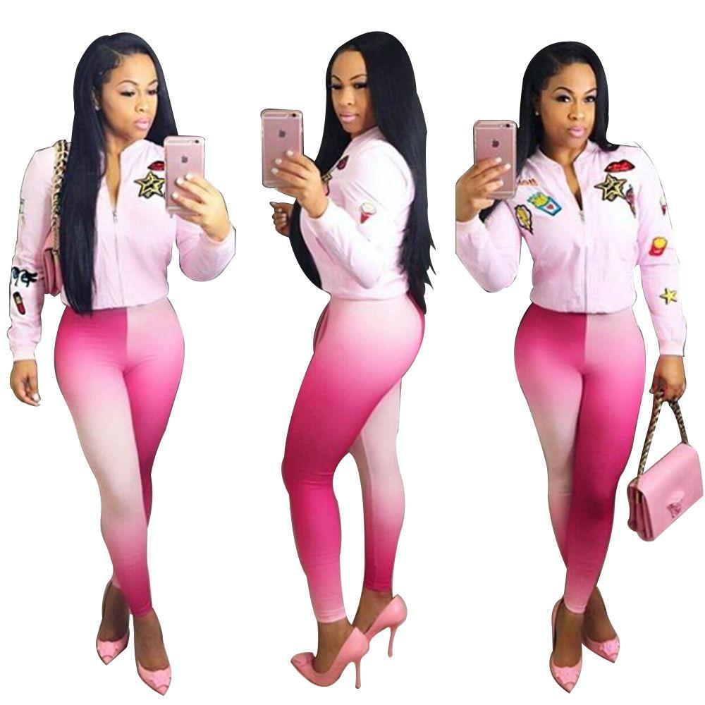 Neue Frauen Reißverschluss oben lange Hülse kurze Jacke Enge Hosen passt zwei Stücke gesetzt sportliche Trainingsanzug-Outfit sexy Farbe Druck Sweat Suit