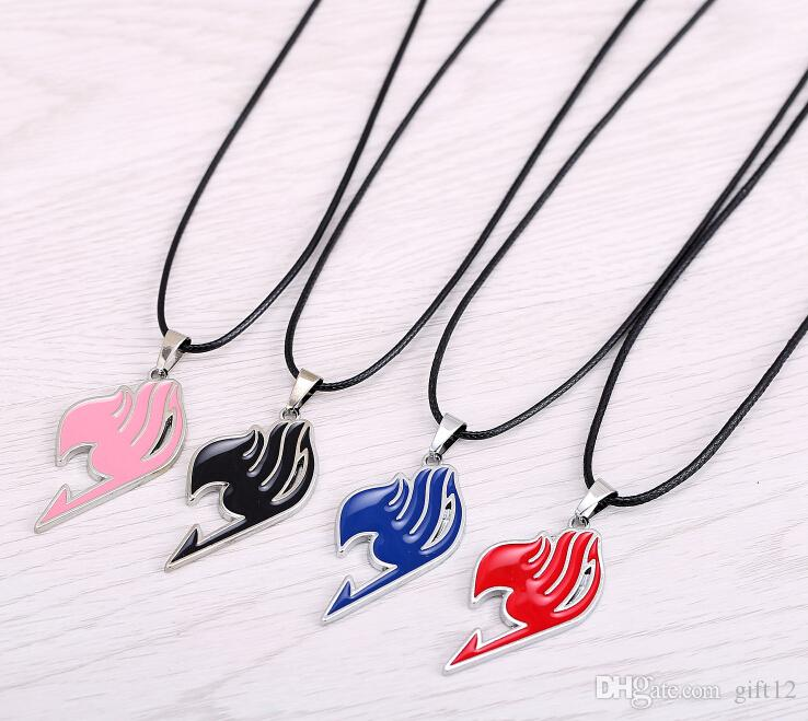 Wholesale Fairy Tail Necklace Guild Logo Tattoo Pendant Anime Fashion Jewelry Leather Rope For Men And Women Wholesale Pendant Necklaces Mens Pendant