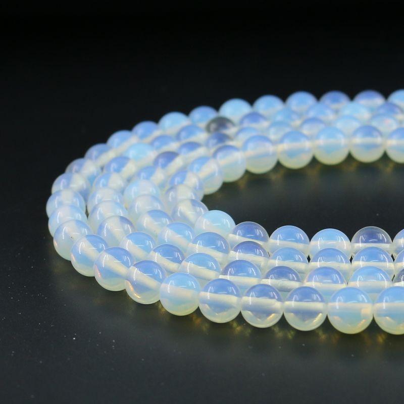 8mm Doğal Beyaz Opal Taş Boncuk Yuvarlak Gevşek Boncuk Yarı Değerli Taş Takı Yapımı Diy Için Strand 48 adet Set Başına