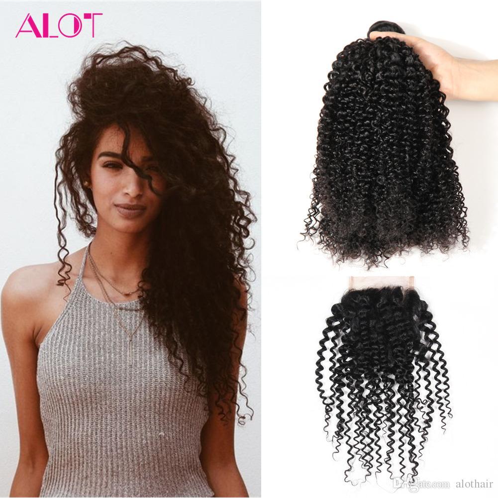 Brazilian Virgin Human Hair Bundles Kinky Curly Hair 3 Bundles with Closures Brazilian Indian Peruvian 100% Unprocessed Hair Extensions