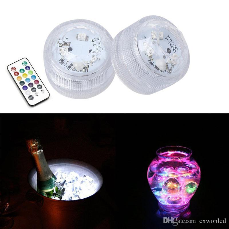 Led Tealight Color Changing Waterproof Candle Light Submersible Aquarium Fish Tank Bar Vase Light With Remote Controller