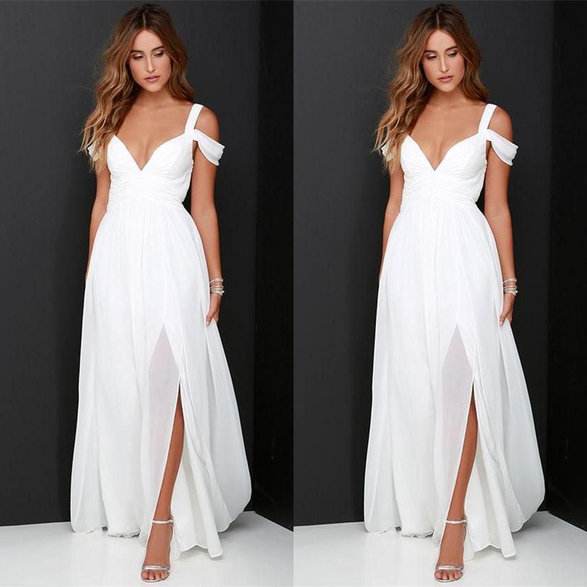 Простые платья на плечах Свадебные платья дешевого 2017 Сплит Robe De Mariee Линия шифон выполненных на заказ свадебных платьев