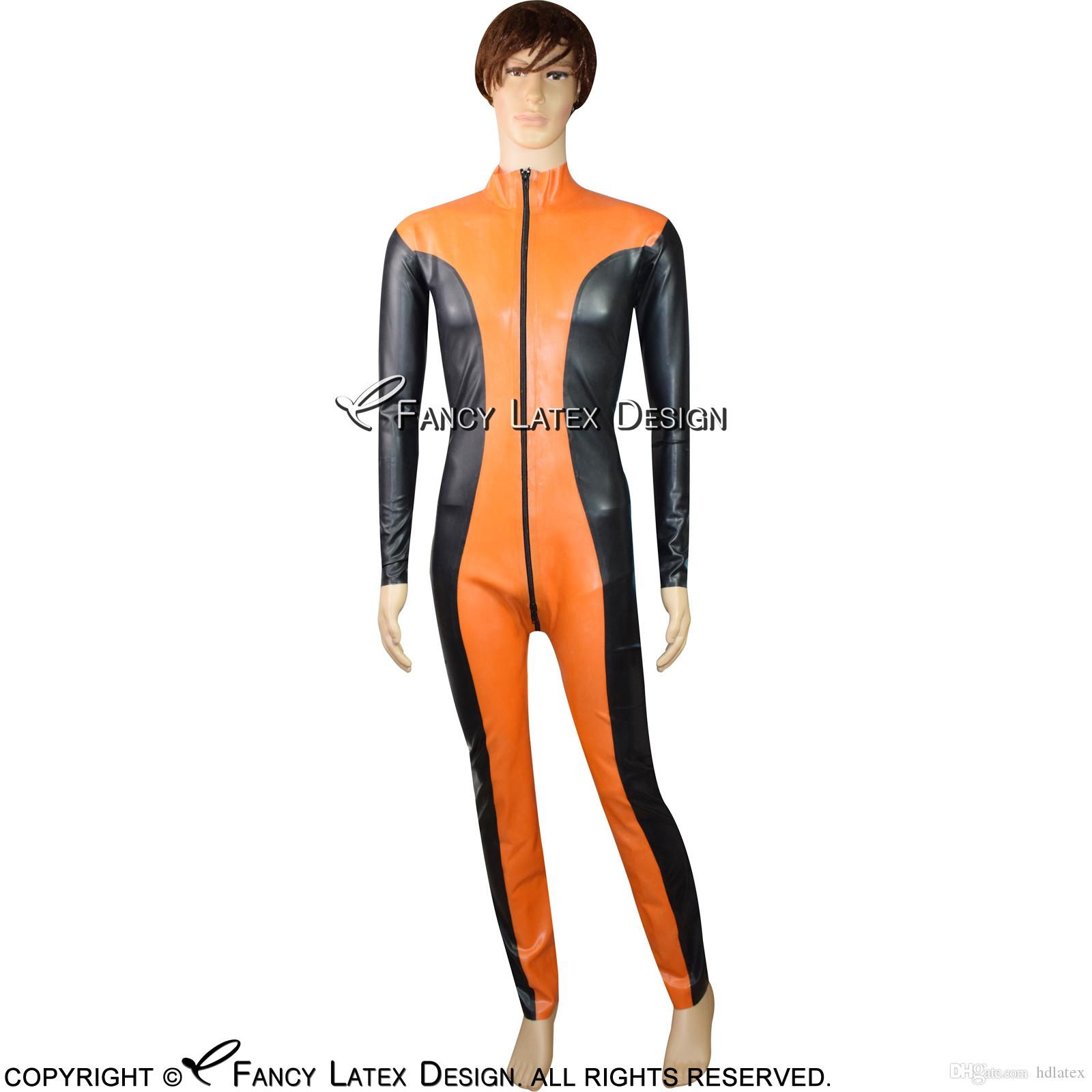 Black With Orange Sexy Latex Catsuit Front To Crotch Zipper Rubber Bodysuit Zentai Overall Body Suit LTY-0054