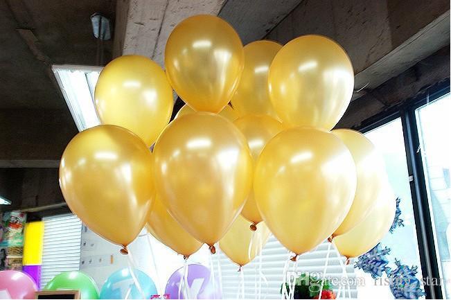 Forma redonda de oro Globos de látex Decoración de fiesta Fiesta con globos Decorar Día de San Valentín Cumpleaños Suministros de boda 200 p