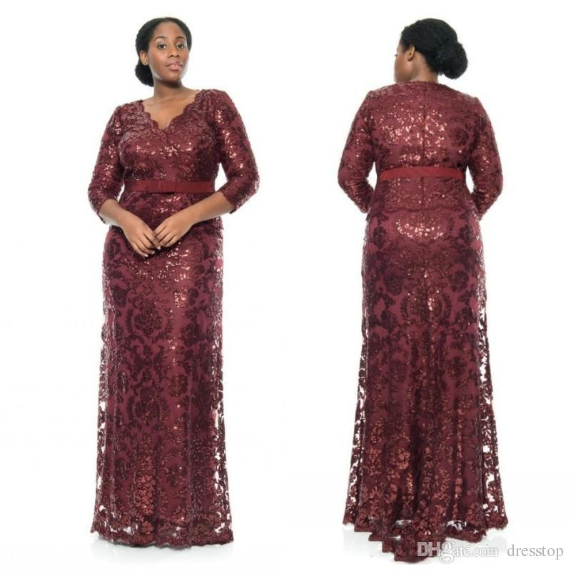 Plus Size Prom Dresses Burgundy V Neck Long Sleeves African Dress Floor  Length Sequined Party Gowns Plus Size Womens Plus Size Workwear From  Dresstop, ...