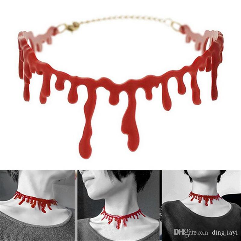Red Choker Halskette Halloween Frankenstein Punk Rock Deathrock Goth Gothic Boho personalisierte Collier Kragen Brincos