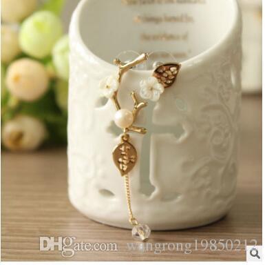 Estetik asimetrik çiçekler saplama küpe kabuk inci küpe uzun üç kişilik ile damızlık küpe