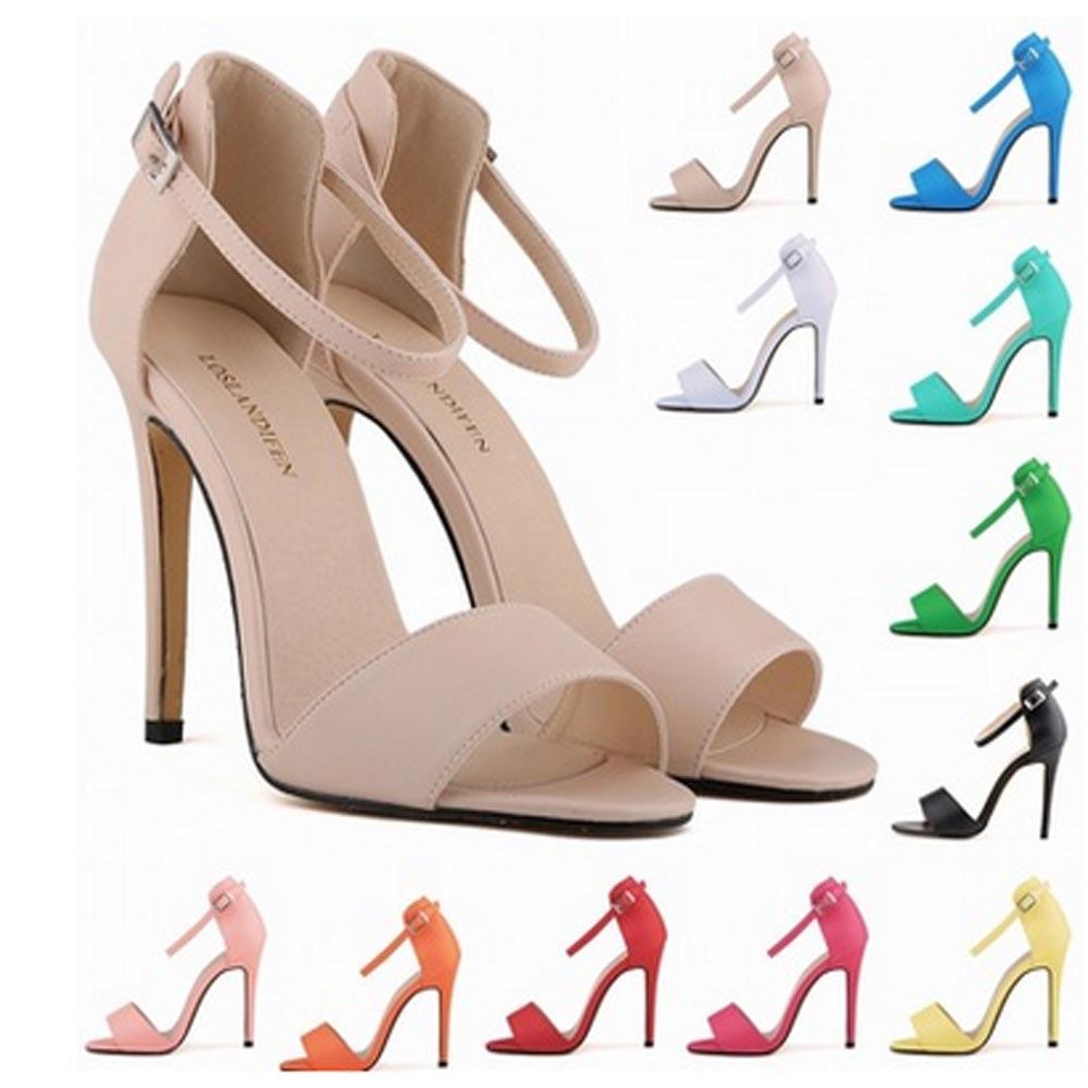 Sapato Feminino Ladies Sexy High Heels Stilettos Open Toe Ankle Strap Wedges Platform Sandals US Size 4 5 6 7 8 9 10 11 D0087