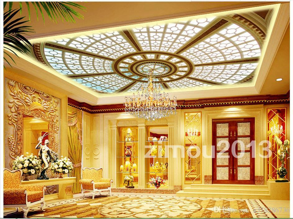 High Quality Custom 3d Ceiling Wallpaper Murals Dome Skylight Ceiling Murals Sitting Room Decoration Wall Paper Landscape Wallpaper Landscape
