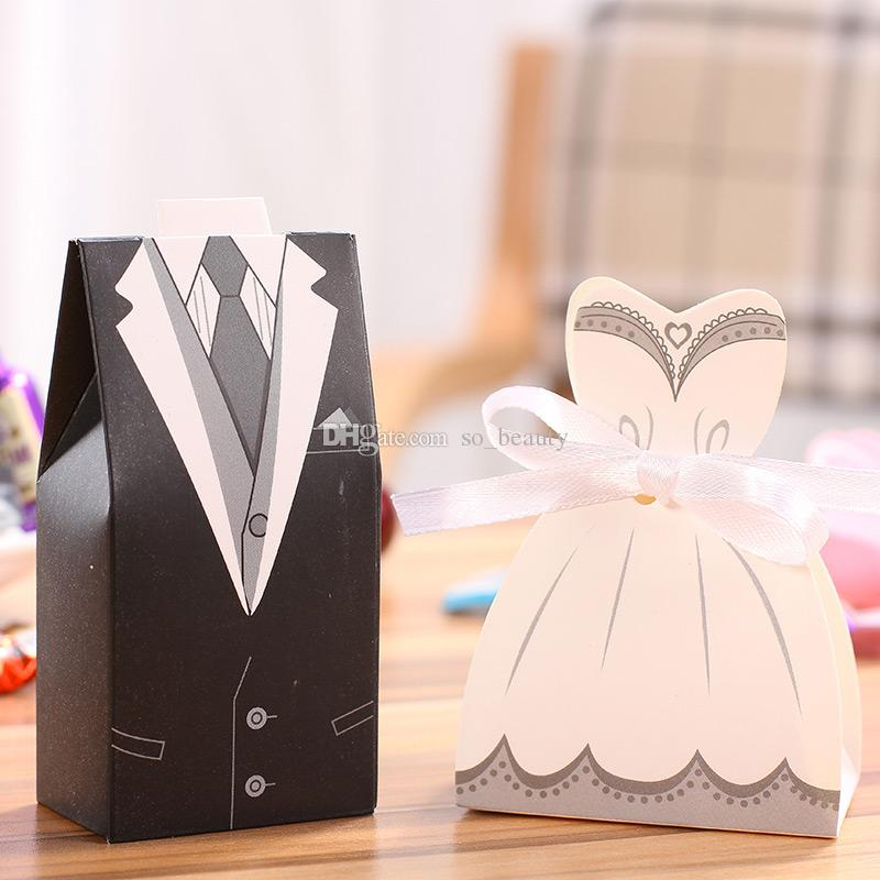 100pcs DRESS & TUXEDO Wedding Candy Boxes Bride and Groom Party Gift Box Christmas Anniversary Faovrs Free Shipping