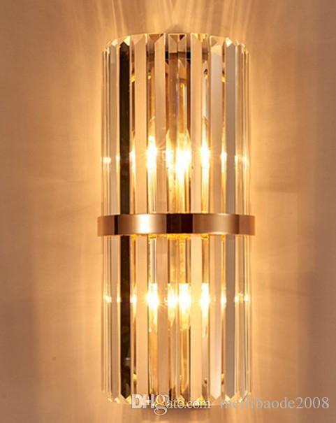 Lámpara de pared de dormitorio con aplique de pared de cristal k9 con interruptor sala de estar comedor luz de pared led Sala de conferencias lámparas de cristal de oro del hotel LLFA