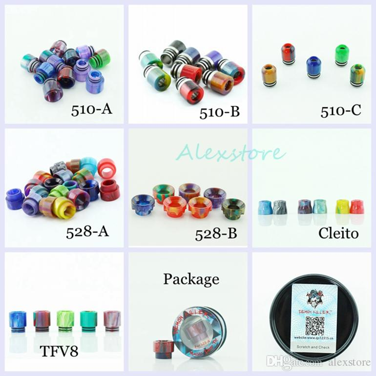 7 Styles Demon Killer Epoxy Resin Drip Tip Colorful Wide Bore Mouthpiece for TFV8 TF12 Cleito Goon 528 510 Tank Atomizers Wire DHL