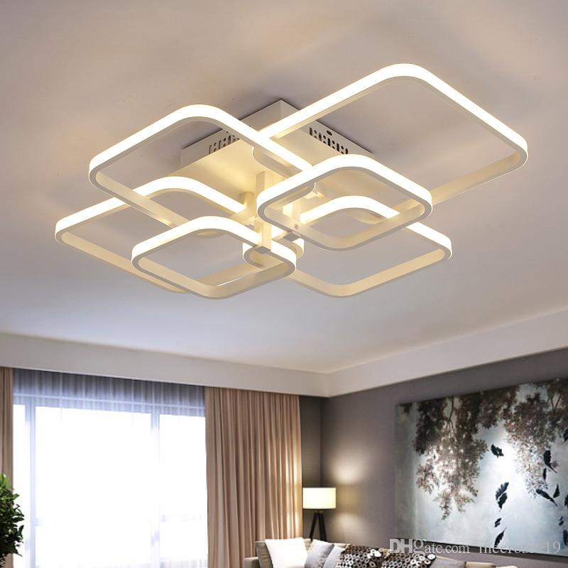 Modern LED Tavan Işıkları oturma odası yatak odası yemek odası için Dikdörtgen Akrilik LED Lamparas de techo Beyaz Tavan Lambası Armatürleri