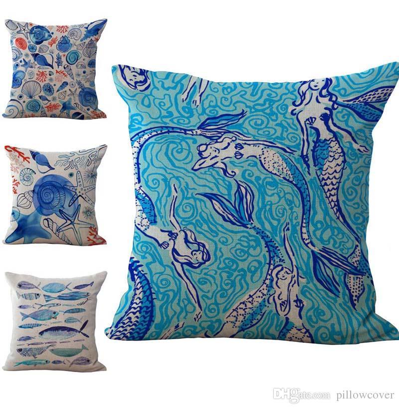 Série mediterrânea Peixe Starfish Conch Padrão Fronha Capa de Almofada de Linho de Algodão Lance Fronha sofá Cama Carro Decorativ Pillowcover