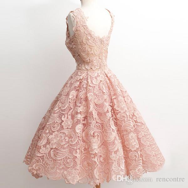 Compre Blush Rosa Lace Coral Homecoming Vestidos 2017 Vintage 1950s Tea Length Corto Vestido De Baile A Line Dulce 16 Junior Graduación Vestido De