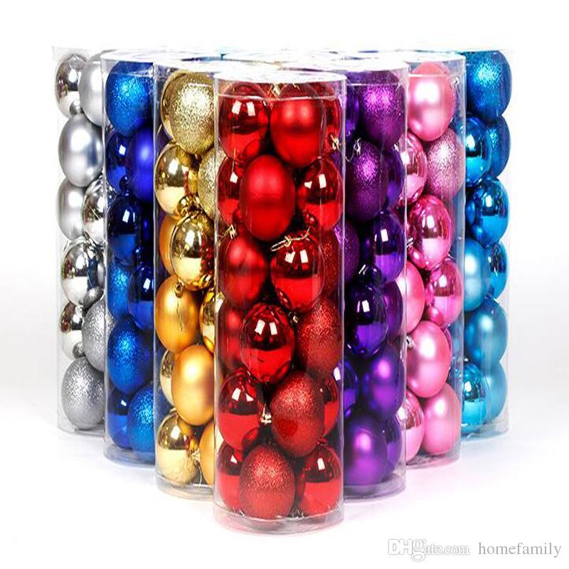 Wholesale Christmas Tree Colorful Christmas Balls Decorations Baubles Party Supplies Wedding Ornament 24pcs/Lot 4CM 6CM 8CM