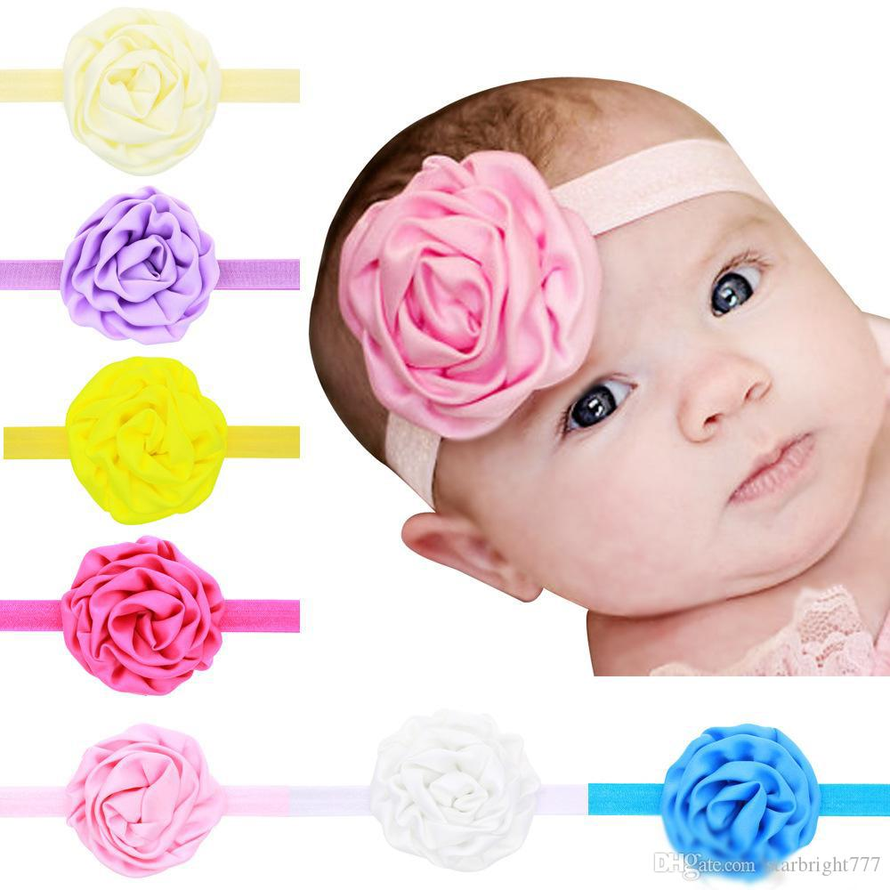 Kids Fashion Hair Accessories Boutique Ruffled Flower Headbands for Girls 12 Color Toddler Solid Color Elastic Hairbands