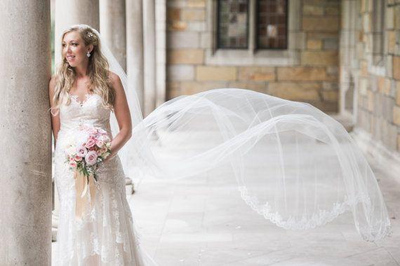 3M Catherdal белая слоновая слоновая слоновая вуаль однослойное кружевное края свадебная завеса с гребнем A14