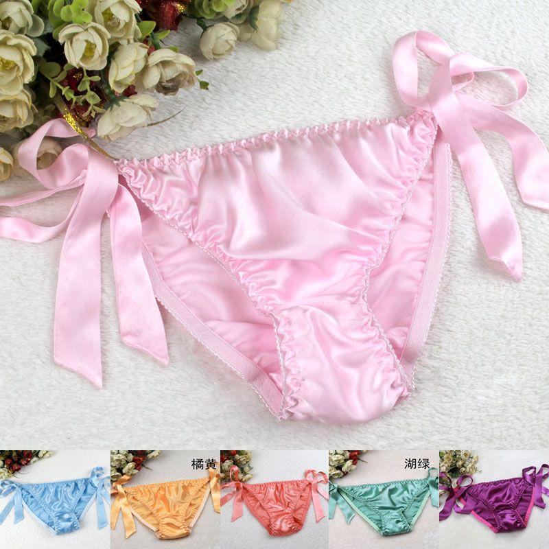 size panties plus pink string bikini satin