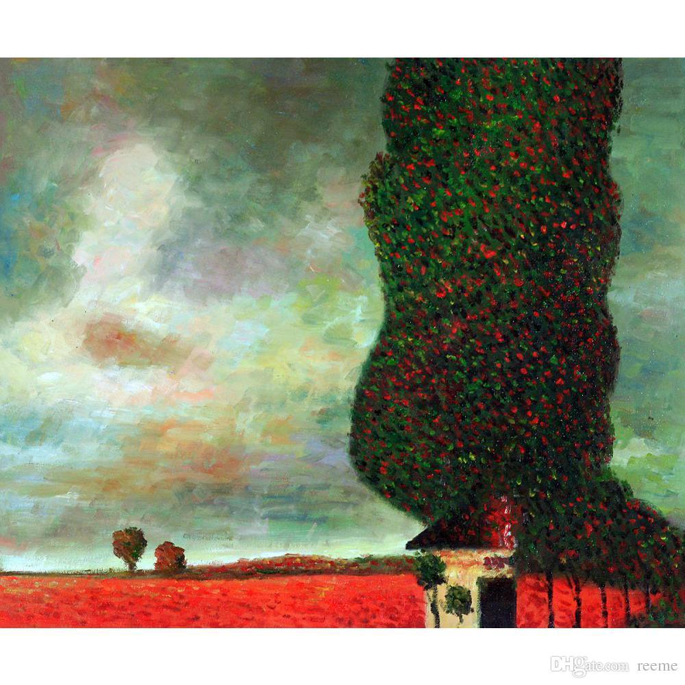 Pinturas decorativas Gustav Klimt Árvores High Poplar art para decoração de parede pintados à mão óleo sobre tela