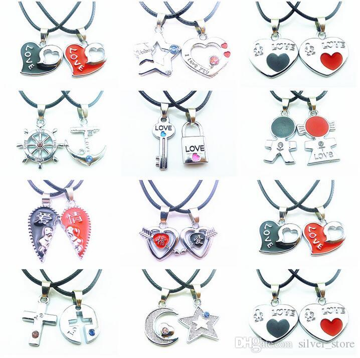 Brand new Valentine 's Day gift key lock couple necklace student couple jewelry WFN037 (with chain) mix order 20 1set=2 pieces