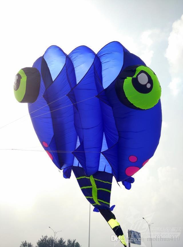 3D 8m² bleu 1 ligne Stunt Parafoil Wizard têtard POWER Sport Kite jouet de plein air