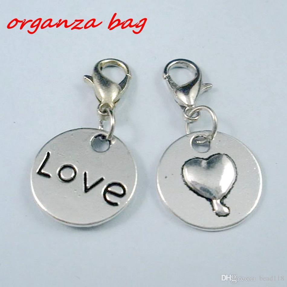 Mic 100pcs Antik Silver Love Heart Charms Pendants och Hummer Clasp 29x15mm (B147)