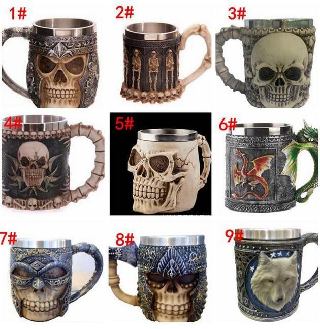 Coffee Mug Resin Striking Warrior Tankard Viking Skull Double Wall 3D Skull Cup