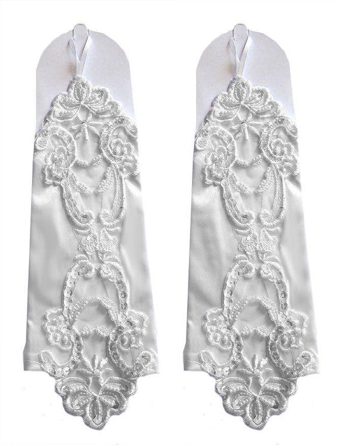 Белые Бусины Без Пальцев Свадебные Перчатки Блесток Аппликация Свадебное Платье Партии Перчатки Дешевые Свадебные Аксессуары На Складе Бесплатная Доставка Новое Прибытие