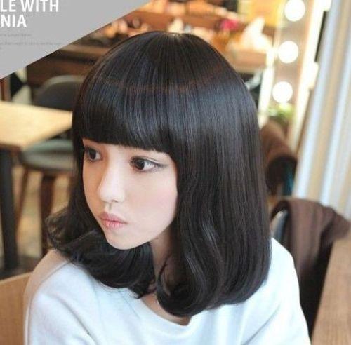 100% Yepyeni Yüksek Kalite Moda Resim tam dantel wigsHot! Bayanlar Orta Dalgalı Saç Tam Peruk Cosplay Bobo Tarzı Patlama Peruk