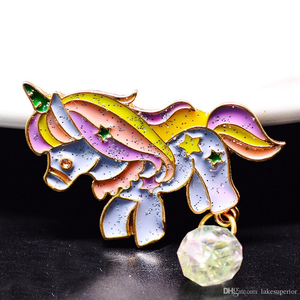 Mulheres bonitos Animal Unicorn Broche Pin Pin Lapel Collar 3 * 3.5 cm Colorido Cavalo Brotheroch Acessórios Da Festa de Jóias de Presente