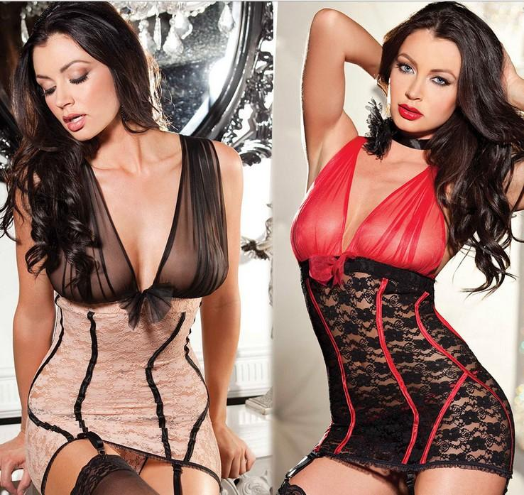 2017 Sexy Lingerie Hot Black Red Perspective Gauze Open Bra Rose Lace Splice Babydoll Backless Erotic Lingerie Sexy Costumes