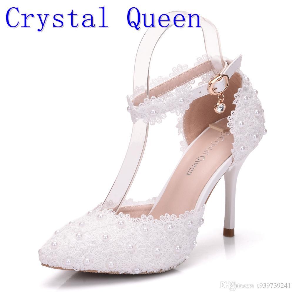 Crystal Queen White Lace Wedding Shoes Handcraft Applique Women Bridal Pumps Evening Party Platforms Heels Sandals Prom Shoes