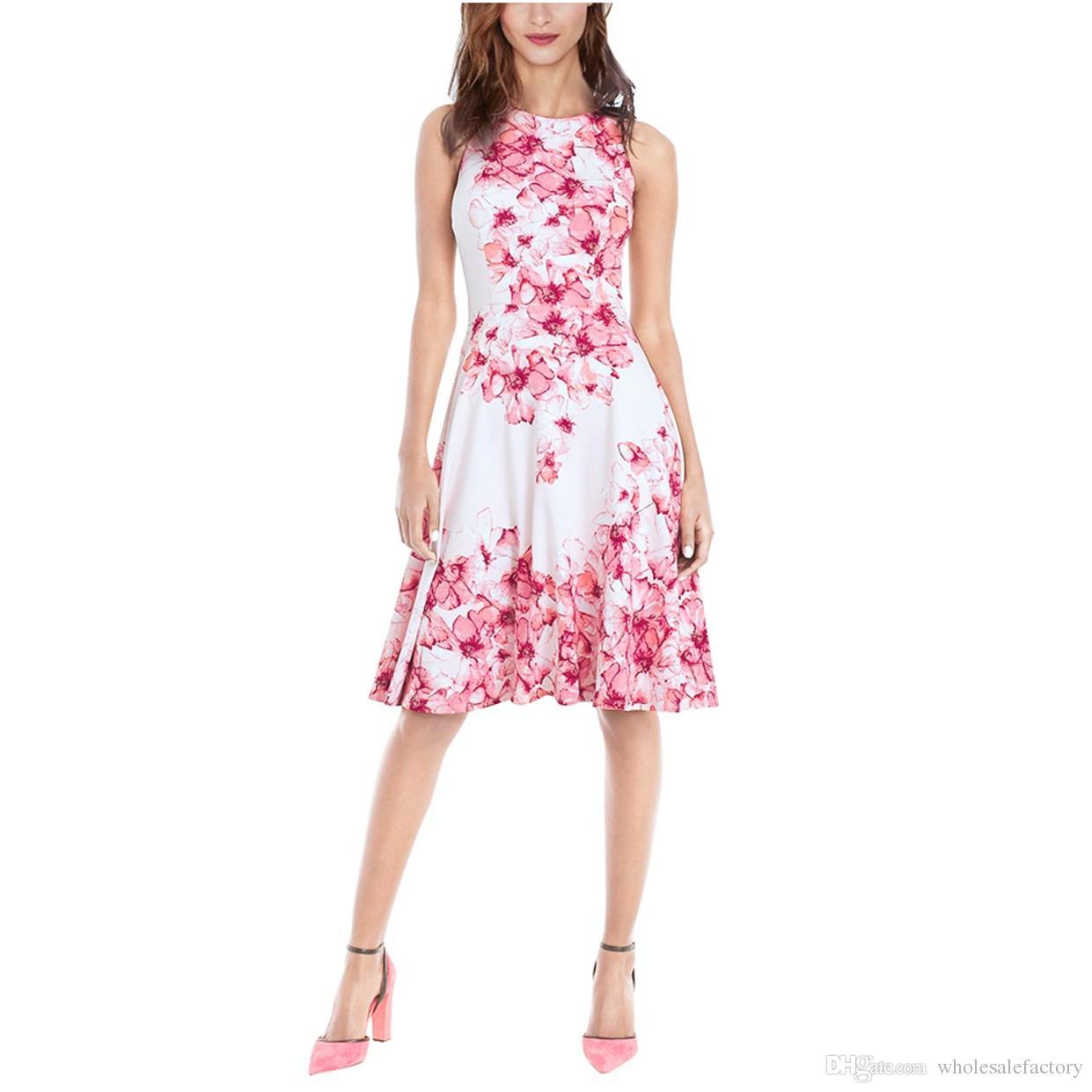 2018 Summer Women Dress Audrey Hepburn Vestidos Sleeveless Polka Floral Print Clothing Cotton 50s Casual Party Rockbilly Plus Size FS2010