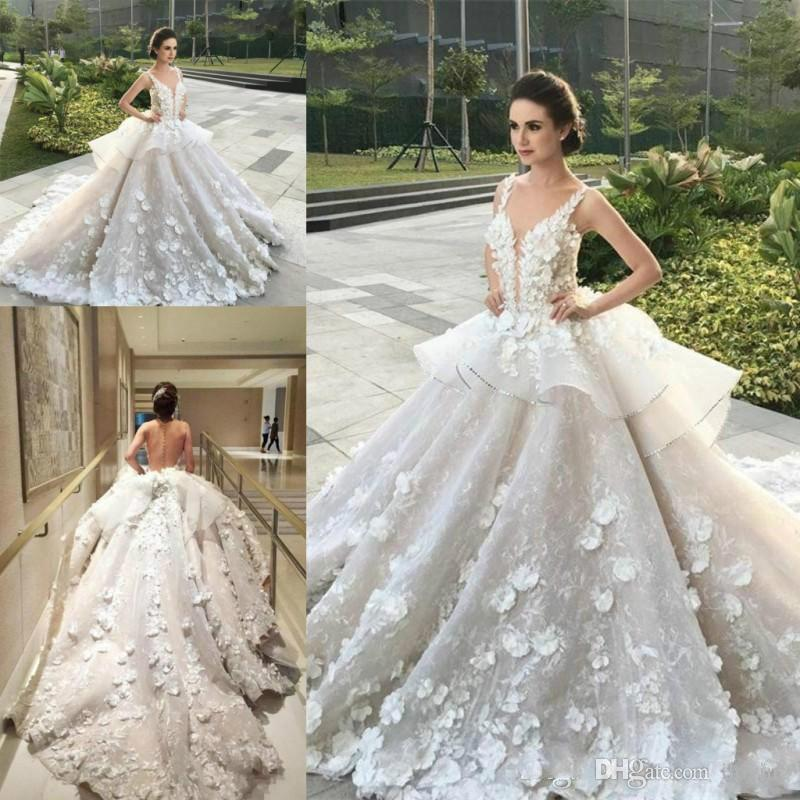 Amazing 3D Floral Peplum Ruffles Plus Size Ball Gowns Plunging Neck Lace Organza Bridal Custom