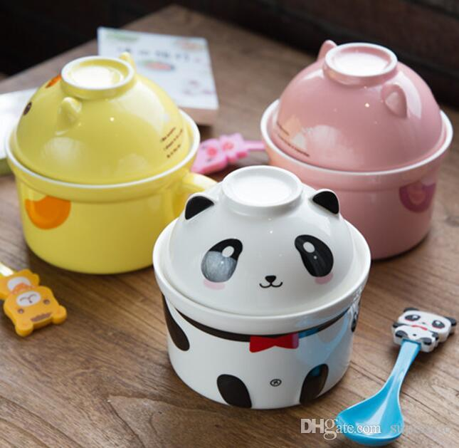 Salad Pottery Noodles Ceramic Bowl Soup Tableware Dinner Bowl Spoon Creative Lovely Hand Painted For Children Cartoon Flatware