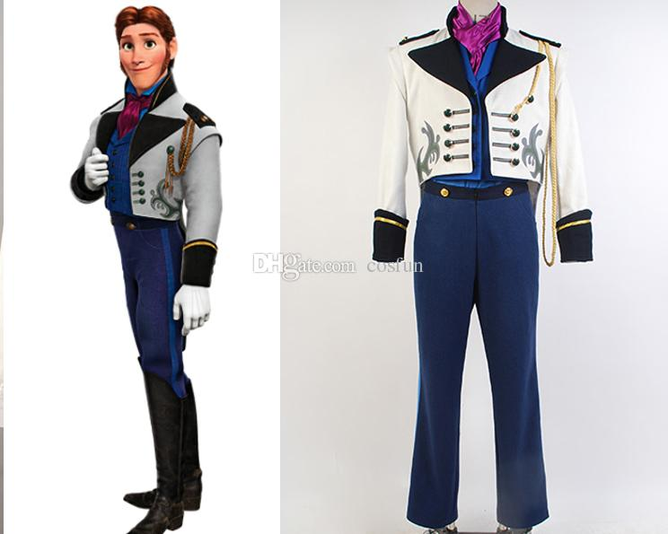 The Cartoon Movie Frozen Cosplay Character Prince Hans Halloween Costume  White Formal Tail Coat With Button
