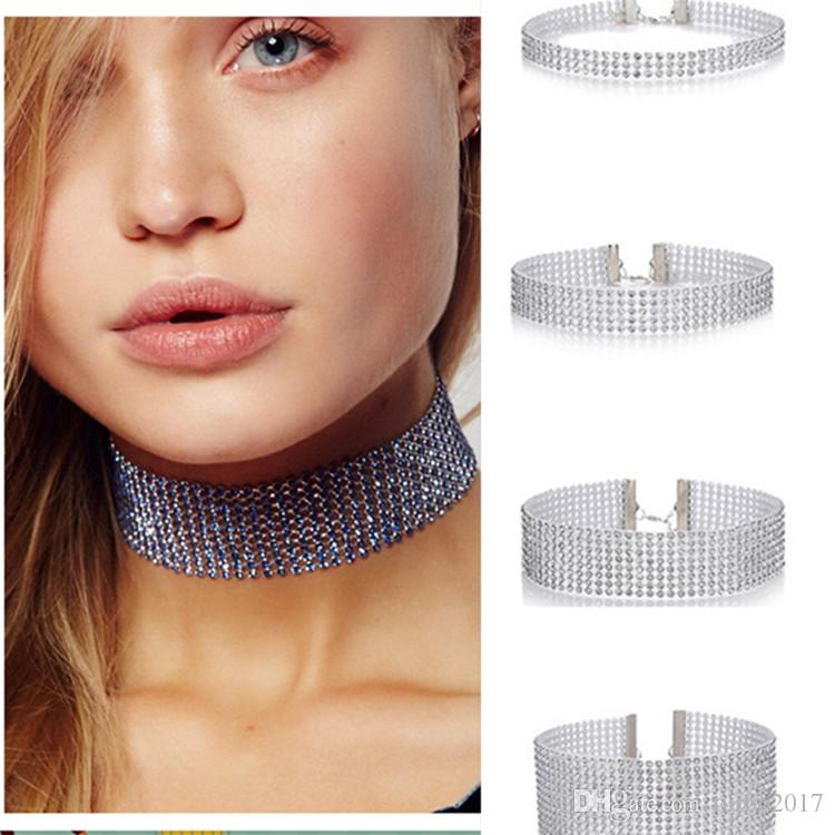 Mode Halsreifen Für Frauen Kristall Strass Halsreifen Halsketten Legierung Halsketten Elastischen Kragen Halsketten Hochwertigen Schmuck Geschenk