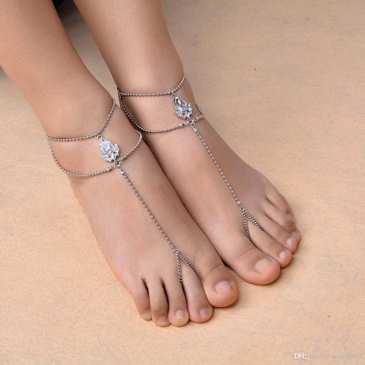 Crystal*Anklets Chain Bracelet Women Barefoot Sandal Toe Ring Beach Foot Jewelry
