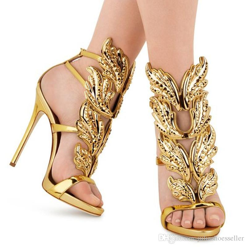 Sexy Wings Shoes Women Crystal Leaves Winged Sandals Shining Leather High Heels Rome Style Gladiator Zapatos Mujer Gold Silver Sandalias