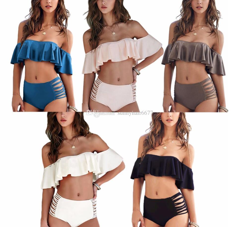 Bikini senza spalline donne reversibile al neon di colore del costume da bagno a vita alta Croce cinghie Biquini sexy scava fuori Swimwear
